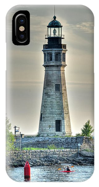 Lighthouse Just Before Sunset At Erie Basin Marina IPhone Case