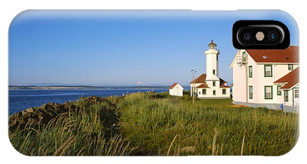 Port Townsend iPhone Case - Lighthouse On A Landscape, Ft. Worden by Panoramic Images