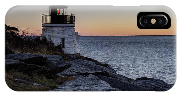 Lighthouse On The Rocks At Castle Hill IPhone Case