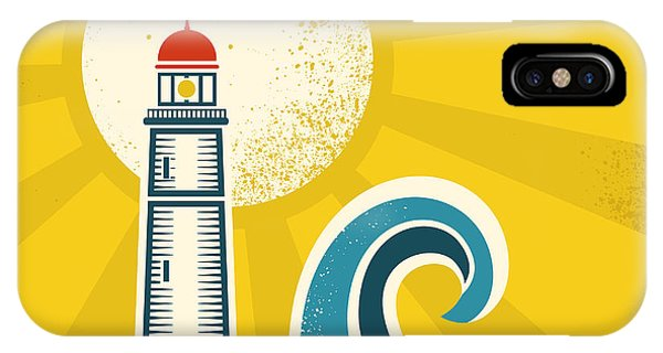 Beam iPhone Case - Lighthouse Poster.vector Vintage by Tancha