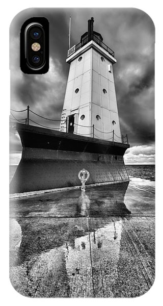 Lighthouse Reflection Black And White IPhone Case