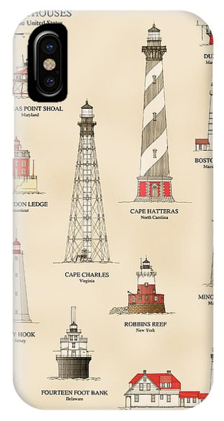 Lighthouse Wall Decor iPhone Case - Lighthouses Of The East Coast by Jerry McElroy