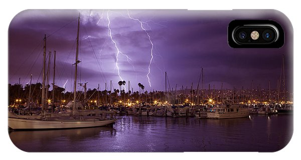 Lightning Behind Santa Barbara Harbor  Mg_6541 IPhone Case