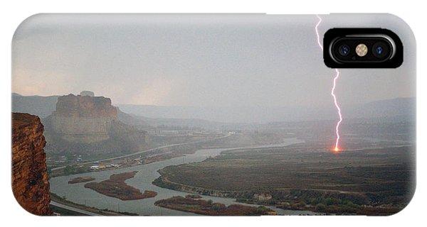 Lightning Strike Near Green River IPhone Case