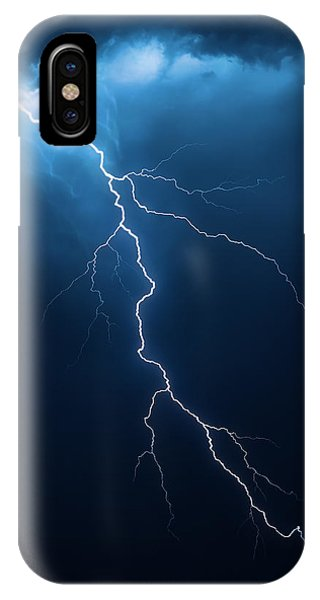 Dark Clouds iPhone Case - Lightning With Cloudscape by Johan Swanepoel