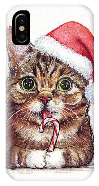 Big Cat iPhone Case - Cat Santa Christmas Animal by Olga Shvartsur