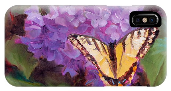 Lilacs And Swallowtail Butterfly Purple Flowers Garden Decor Painting  IPhone Case