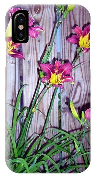 Lilies Against The Wooden Fence IPhone Case