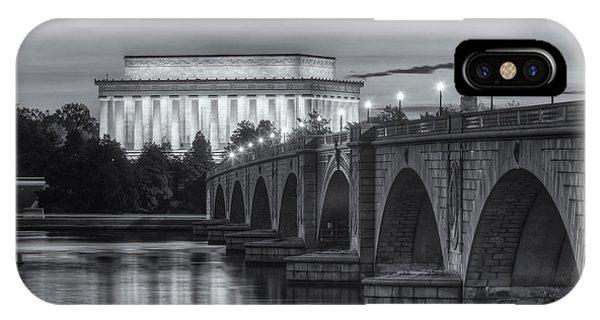 Lincoln Memorial And Arlington Memorial Bridge At Dawn II IPhone Case