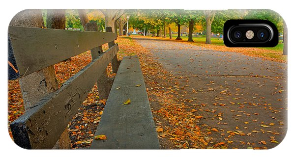 Lincoln Park Bench In Fall IPhone Case