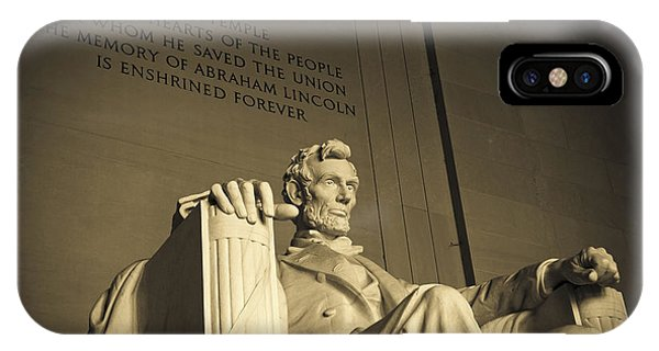 Lincoln Statue In The Lincoln Memorial IPhone Case