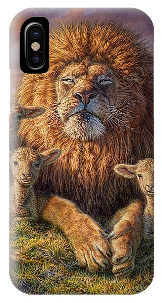 Tranquil iPhone Case - Lion And Lambs by Phil Jaeger