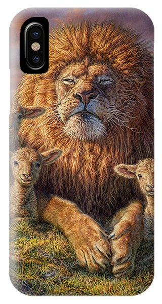 Lions iPhone Case - Lion And Lambs by Phil Jaeger