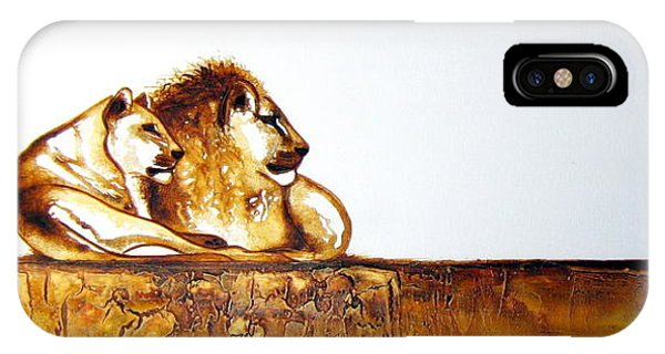 Lion And Lioness - Original Artwork IPhone Case