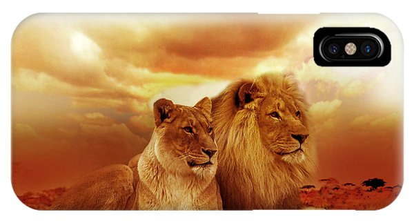 Lion Couple Without Frame IPhone Case