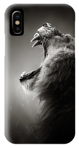 Monochrome iPhone Case - Lion Displaying Dangerous Teeth by Johan Swanepoel