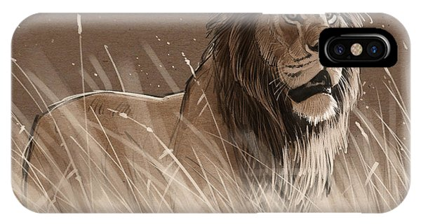 Lions iPhone Case - Lion In The Grass by Aaron Blaise