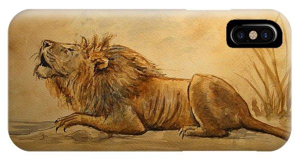 African Lion Art iPhone Case - Lion by Juan  Bosco