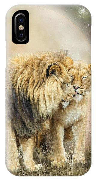 African Lion Art iPhone Case - Lion Kiss by Carol Cavalaris