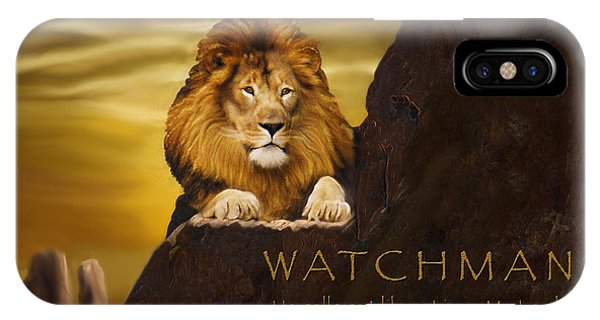 Worship iPhone Case - Lion Watchman by Constance Woods