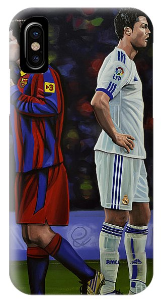 Realism iPhone Case - Lionel Messi And Cristiano Ronaldo by Paul Meijering