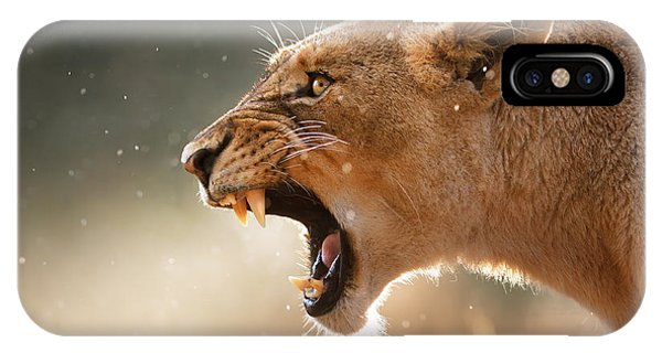 Wet iPhone Case - Lioness Displaying Dangerous Teeth In A Rainstorm by Johan Swanepoel