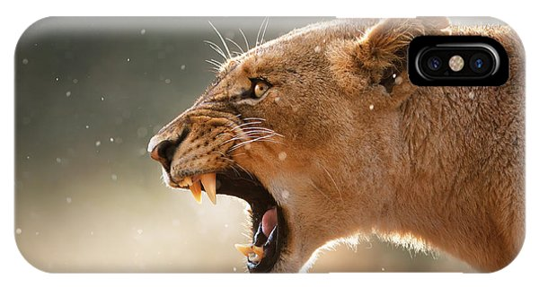 Eyes iPhone Case - Lioness Displaying Dangerous Teeth In A Rainstorm by Johan Swanepoel