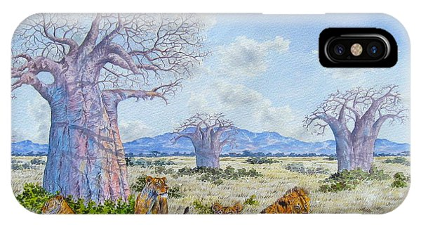 Lions By The Baobab IPhone Case