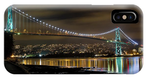 Lions Gate Bridge At Night IPhone Case