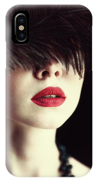 Necklace iPhone Case - Lips And Feather by Magdalena Russocka