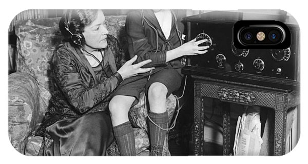 Child Actress iPhone Case - Listening To Radio Show by Underwood Archives