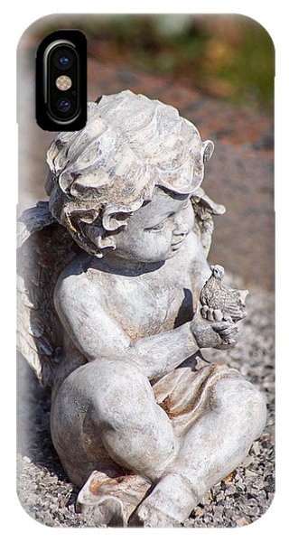 Little Angel With Bird In His Hand - Sculpture IPhone Case