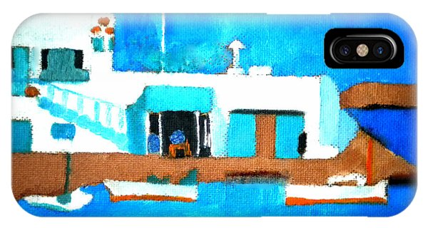 IPhone Case featuring the painting Paros  Cute Spot On Greek Island by Colette V Hera  Guggenheim