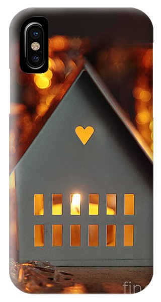 Cabin iPhone Case - Little Gray House Lit With Candle For The Holidays by Sandra Cunningham