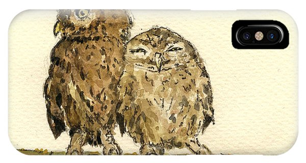 Bird Watercolor iPhone Case - Little Owls by Juan  Bosco
