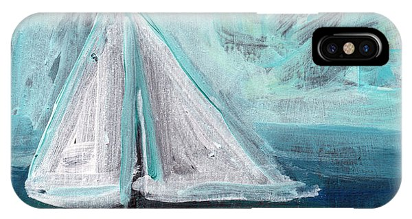 Sailboat iPhone Case - Little Sailboat- Expressionist Painting by Linda Woods