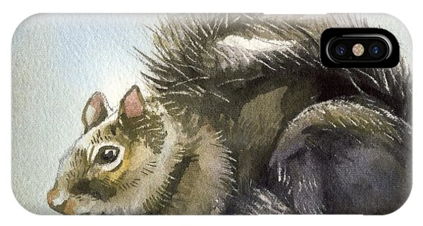 Little Squirrel Watercolor IPhone Case