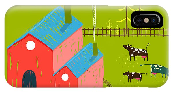 Small iPhone Case - Little Village House Rural Landscape by Popmarleo