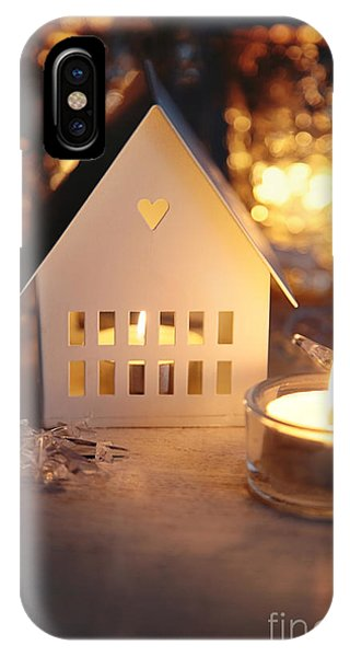 Little White House Lit With Candle For The Holidays IPhone Case