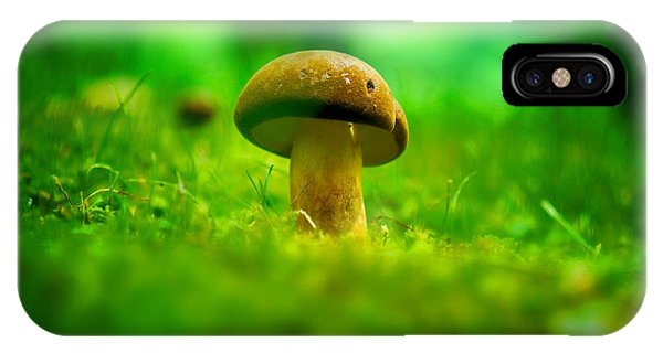 Little Wild Mushroom On A Green Forest Patch IPhone Case
