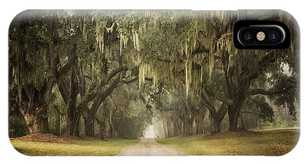 Live Oak Allee' On A Foggy Morn IPhone Case