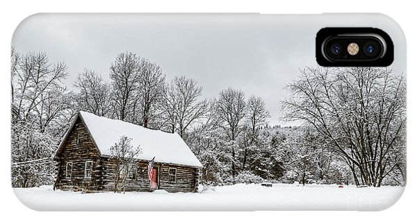New England Barn iPhone Case - Log Cabin In The Snow by Edward Fielding