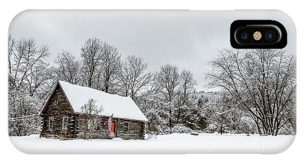 Log Cabin In The Snow IPhone Case