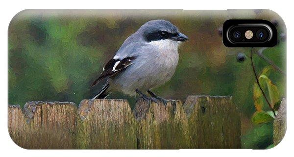 Loggerhead Shrike On Garden Fence IPhone Case