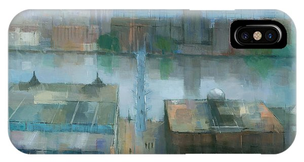 IPhone Case featuring the painting London Cityscape by Steve Mitchell