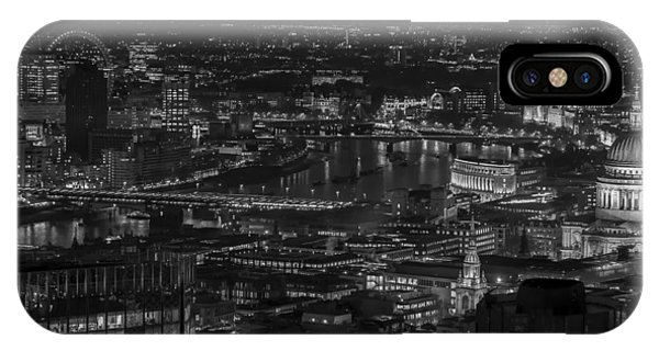 London City At Night Black And White IPhone Case