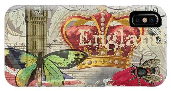 London England Vintage Travel Collage  IPhone Case