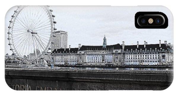 London Eye iPhone Case - London Eye Mono by Jasna Buncic