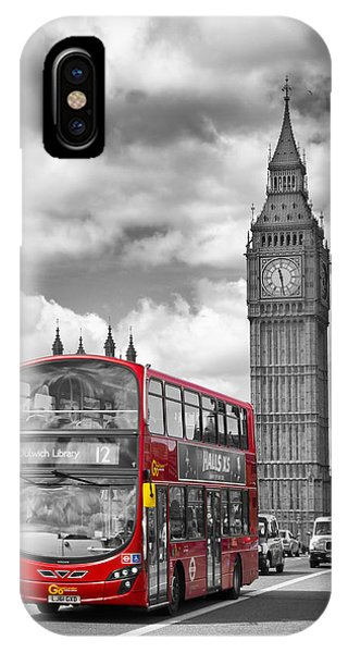 Old iPhone Case - London - Houses Of Parliament And Red Bus by Melanie Viola