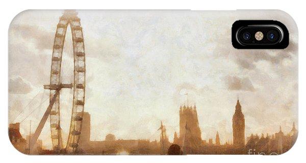 London Eye iPhone Case - London Skyline At Dusk 01 by Pixel  Chimp